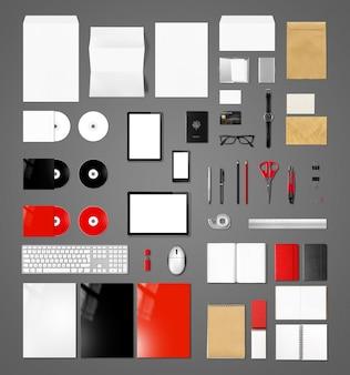 Modello di mockup del marchio di prodotti, sfondo grigio scuro