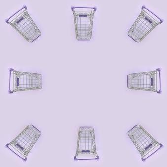 Modello di molti piccoli carrelli della spesa su viola