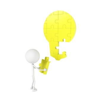 Modello di persone e puzzle a forma di lampadina. rendering 3d.