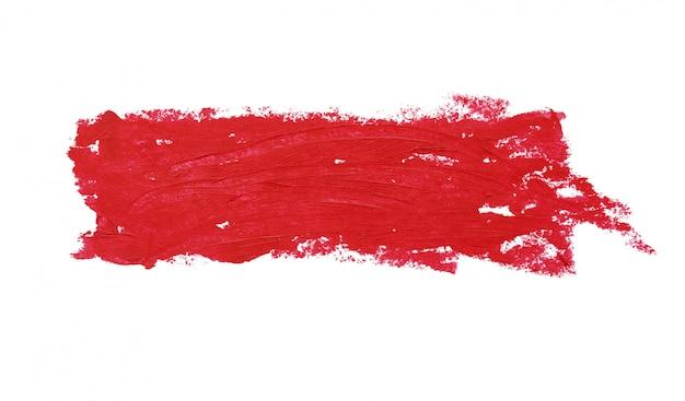 Modello di rossetto spesso rosso brillante, cosmetici isolati su bianco