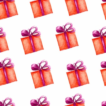 Modello di scatole di schizzi regalo. scatole rosse con nastro viola.