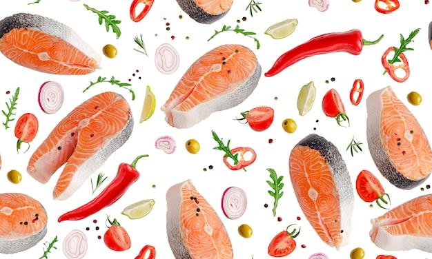 Modello di seamles di salmone volante con verdure ed erbe