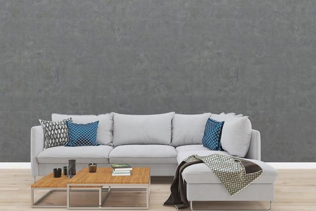 Modello di sfondo divano divano grigio pavimento in legno di cemento