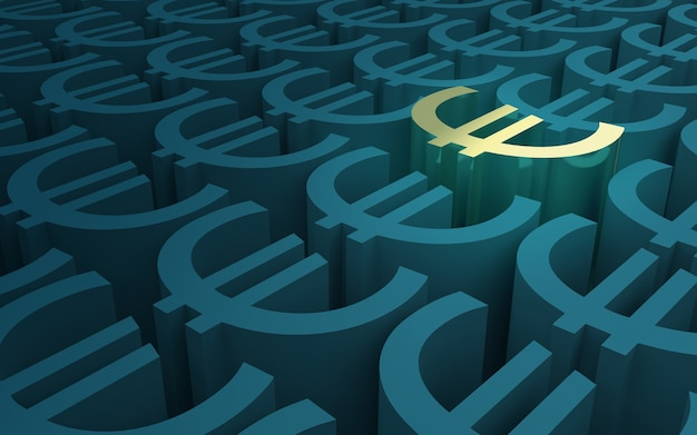 Modello di simboli euro elevati