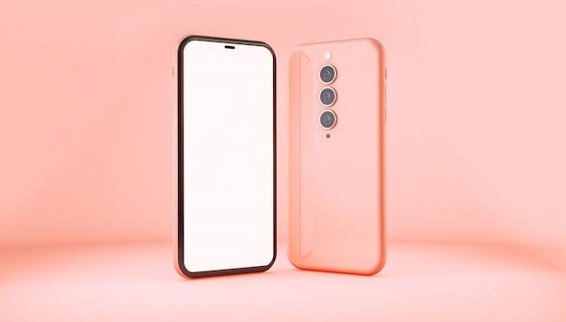 Modello di smartphone isolato su sfondo rosa