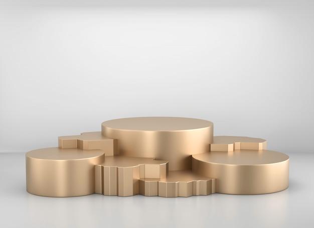 Modello di supporto podio metallico dorato per prodotti pubblicitari e commerciali, rendering 3d.