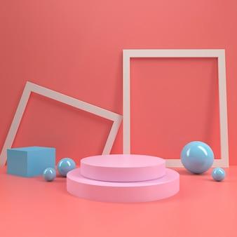 Modello di tavola di visualizzazione del palco del podio cerchio stand pastello pastello mock up minimal parete in legno composizione 3d rendering