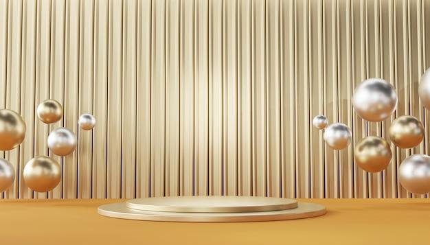 Modello diritto del podio metallico dell'oro per la pubblicità dei prodotti e commerciale, rappresentazione 3d.