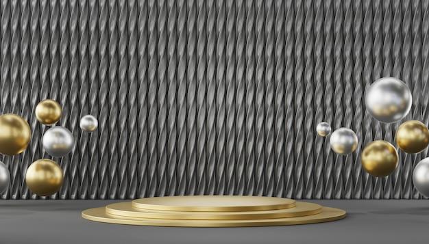 Modello diritto del podio metallico di lusso per la pubblicità dei prodotti e commerciale, rappresentazione 3d.