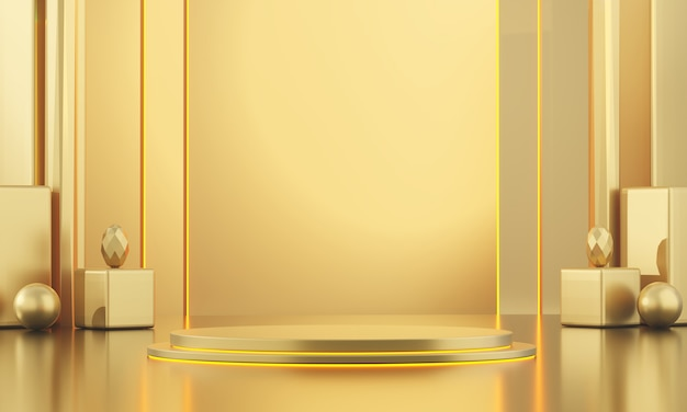 Modello diritto di derisione metallico dell'oro per la pubblicità dei prodotti e commerciale, rappresentazione 3d.