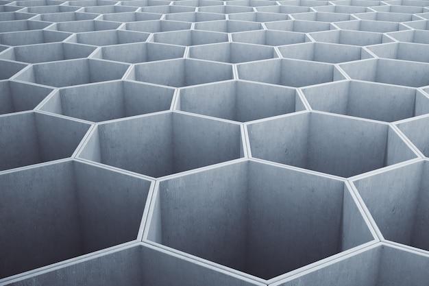 Modello esagonale concreto grigio chiaro astratto.