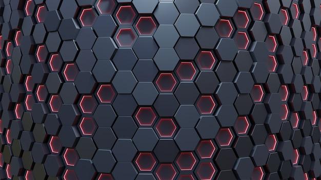 Modello esagono rosso. rendering 3d