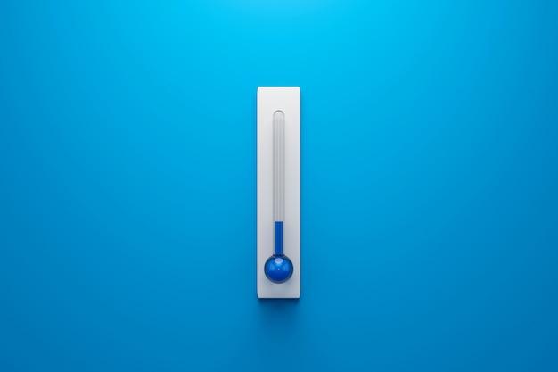 Modello in bianco del termometro centigrado e di fahrenheit sulla parete blu con il concetto di inverno o di bassa temperatura. rendering 3d.