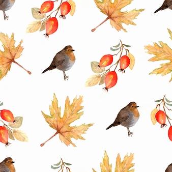 Modello invernale dipinto a mano di uccelli e rami