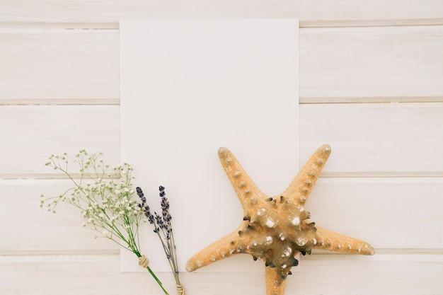 Modello, mazzi di fiori e stelle marine