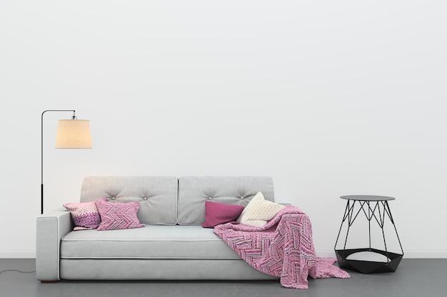Modello moderno del fondo del modello del sofà grigio del pavimento del pavimento del salone