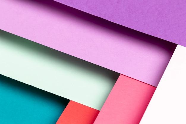 Modello piatto laico con diversi colori di close-up