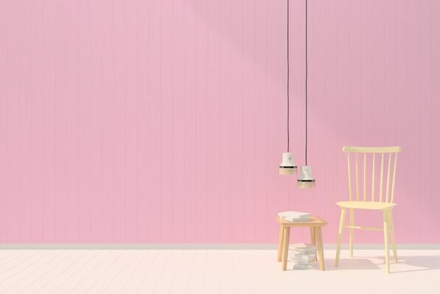 Modello rosa della lampada del libro di struttura della priorità bassa di legno della parete pastello bianca della sedia