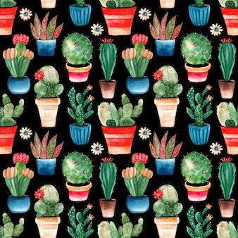 Modello senza cuciture con cactus dell'acquerello