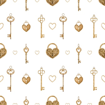 Modello senza cuciture con chiavi d'oro vintage e serrature a forma di cuore. illustrazione ad acquerello