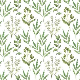 Modello senza cuciture con foglie di verde dell'acquerello