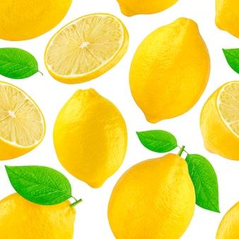 Modello senza cuciture con limoni. limone isolato su bianco