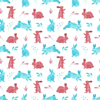 Modello senza cuciture dei conigli isolato su fondo bianco. illustrazione di pasqua ad acquerello.