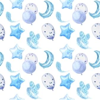 Modello senza cuciture del bambino blu con palloncini luminosi brillanti, stelle e piume