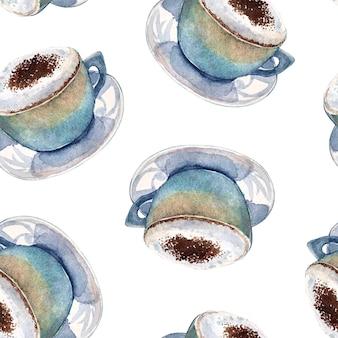 Modello senza cuciture del cappuccino del caffè dell'acquerello.