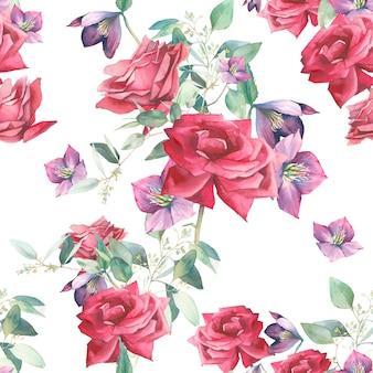 Modello senza cuciture dell'acquerello con fiori di rose e foglie di eucalipto