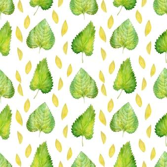 Modello senza cuciture dell'acquerello con girasoli luminosi, foglie e gemme della pianta