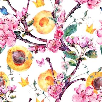 Modello senza cuciture dell'acquerello con l'albero di albicocca di frutti e fiori