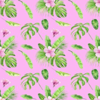 Modello senza cuciture dell'illustrazione dell'acquerello delle foglie e dell'ibisco tropicali del fiore.