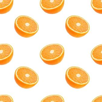 Modello senza cuciture della frutta delle arance isolata su bianco