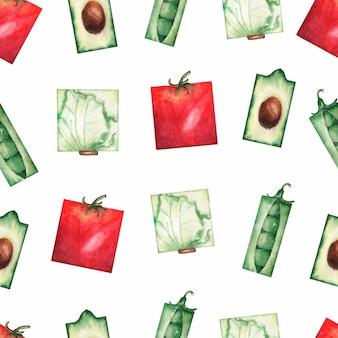 Modello senza cuciture delle verdure organiche del giardino dell'acquerello