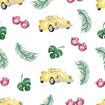 Modello senza cuciture di estate dell'acquerello auto gialla, occhiali da sole e foglie tropicali.