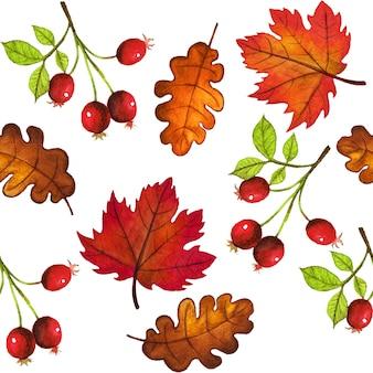 Modello senza cuciture di foglie e bacche di autunno