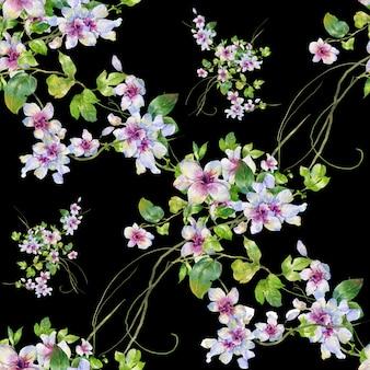Modello senza cuciture di foglie e fiori dell'acquerello