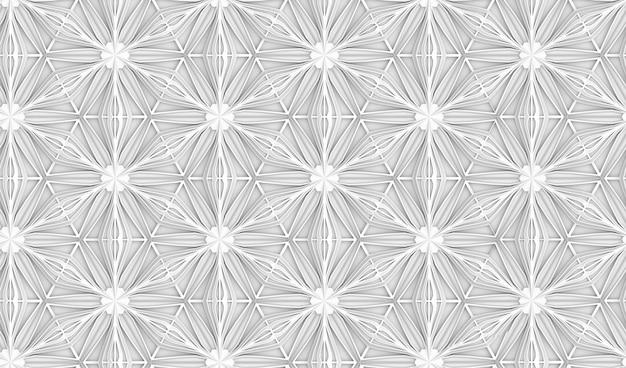 Modello senza cuciture di geometria leggera tridimensionale con fiori a sei punte