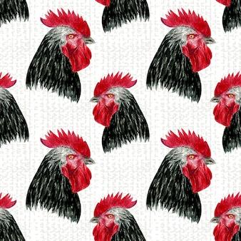 Modello senza cuciture gallo uccelli da fattoria dell'acquerello