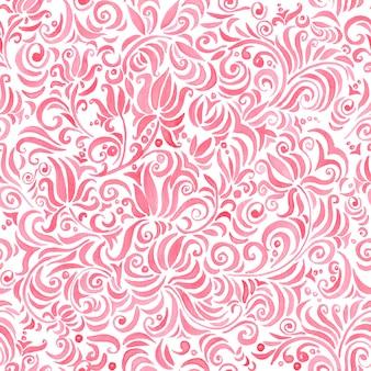 Modello senza cuciture ornamentale floreale dell'acquerello rosso in stile tradizionale.