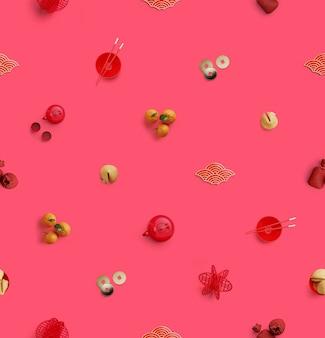 Modello senza soluzione di continuità. elementi cinesi tradizionali laici piatti sulla superficie rosa. illustrazione di rendering 3d.