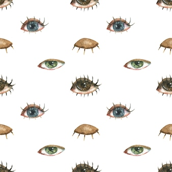 Modello senza soluzione di continuità sul tema di lgbt. con l'illustrazione di diversi occhi femminili.