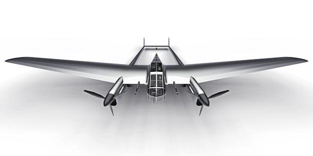 Modello tridimensionale del bombardiere aereo della seconda guerra mondiale. corpo in alluminio lucido con due code e ali larghe. motore a turboelica. aeroplano grigio lucido su uno sfondo bianco. illustrazione 3d