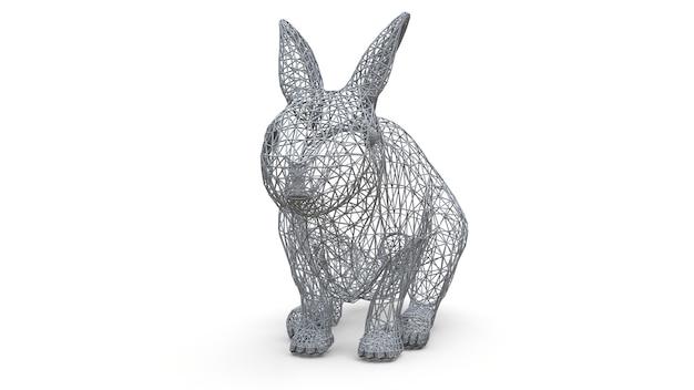 Modello tridimensionale di un coniglio sotto forma di un quadro spaziale. la cornice è fatta di triangoli. arte moderna, un mix di fauna selvatica e computer grafica