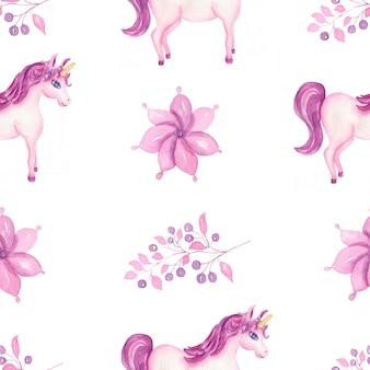 Modello unicorno acquerello carino con fiori