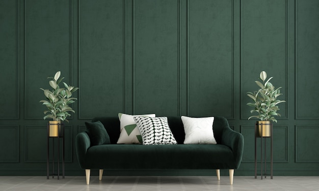 Modern mock up living room interior design e green pattern wall background