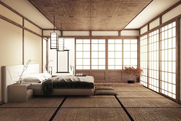Moderna camera da letto tranquilla. camera da letto in stile zen. camera da letto serena.