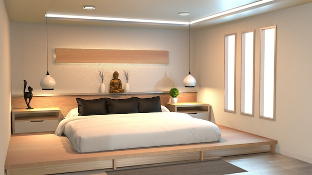 Moderna camera da letto tranquilla. camera da letto in stile zen. camera da letto tranquilla e serena.