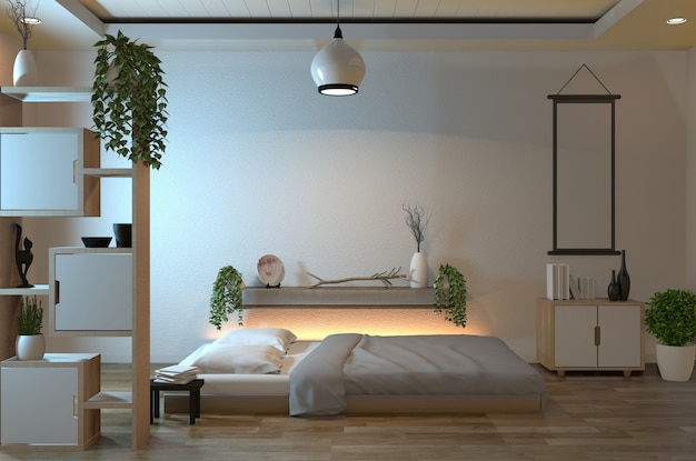 Moderna camera da letto tranquilla.